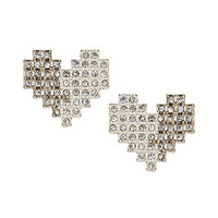 Pixelated Heart Stud Earrings - Jewelry - Bags & Accessories - Topshop USA