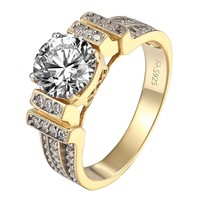 Round Brilliant Cut Solitaire Ring Wedding Engagement 18k Gold Over 925 Silver