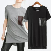 SIMPLE - Popular Fashionable Pocket Cotton Long Round Necked Short Sleeve Top T-shirt b2473