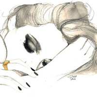 Dreams & Nightmares, print from original mixed media fashion illustration by Jessica Durrant