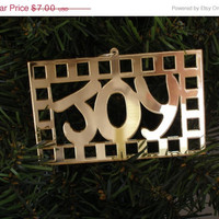 "On Sale One mirrored acrylic laser cut ornament ""Joy"" color choice, approx. size 4"" x 2-1/2"""