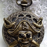 Pirate pocket watch, men's pocket watch, front case is mounted with pirate head and swords
