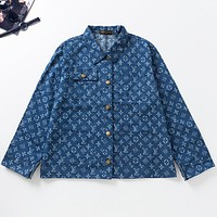 LV Louis Vuitton New fashion monogram print couple long sleeve coat jacket Blue