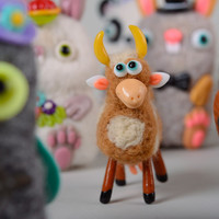 Handmade felted wool toy cow eco present soft textile statuette home decor ideas