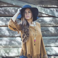 Thankful for Fringe Top in Camel