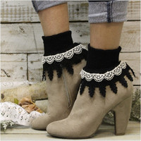 GARDENIA double lace socks -  black