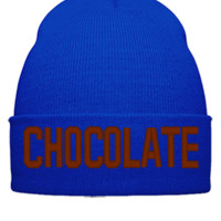 CHOCOLATE EMBROIDERY HAT - Beanie Cuffed Knit Cap