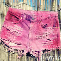 Tie Dyed Denim Shorts SMALLMEDIUM by UnraveledClothing on Etsy