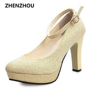 Free shipping 2017 spring and autumn new shoes waterproof shoes thick with high-heeled shoes round buckle word princess shoes