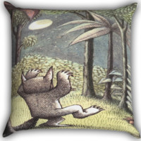 Where The Wild Things Are Zippered Pillows  Covers 16x16, 18x18, 20x20 Inches