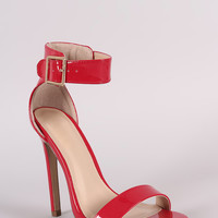 Shiny Ankle Strap Open Toe Stiletto Heel