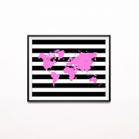 Striped Map Print, Travel Art Print, World Map Poster, Chic Office Decor, Pink, Girly Home Decor, Modern Map Wall Art, Nursery Decor SKU:034