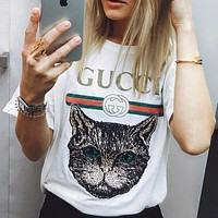 GUCCI Hot letters print T-shirt top