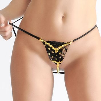 Crotchless G-string Panties with Faux Yellow Pearls