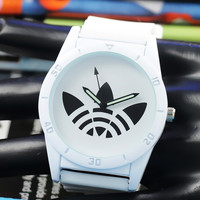 New Fashion Color Leaf Grass Quartz Watch Stainless Steel For Women Men Unisex Silicone Sports Casual Wristwatches and Box