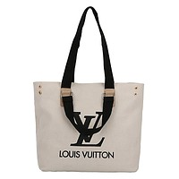 LV 2019 new simple canvas bag tote bag wild handbag white