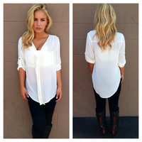 Ivory 3/4 Sleeve Double Pocket Blouse