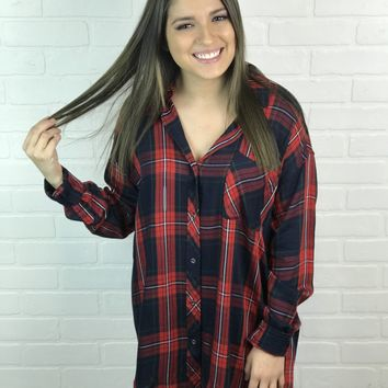 Oversize Plaid Top - Red + Navy