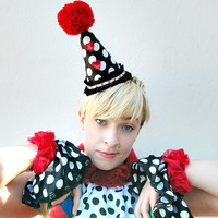 Clown Costume, Wrist Cuffs, Satin, Polka Dot, Circus,  Red Roses,Black and White, Halloween, Burlesque, Batcakes Couture