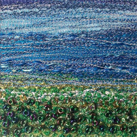 Fibre art landscape - Blue and green beaded meadow -  handmade fabric art card - embroidered landscape - 5 inch square card - needlework art