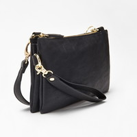Double-Pocket Faux Leather Crossbody