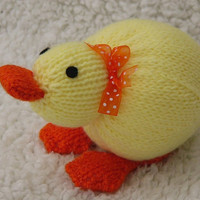 Hand-knitted toy Duckling