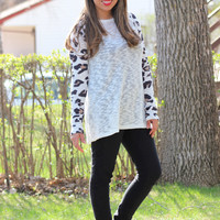 Spotted Leopard Print Long Sleeve Knit Top in Ivory