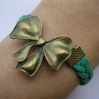 Bracelet-antique bronze bow bracelet,bow braid bracelet