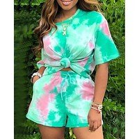 Sports and leisure tie-dye two-piece suit shorts T shirt top green