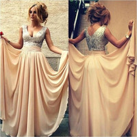 Champagne Sequin Prom Dresses For Wedding Party Dresses 2015 Burgundy Black Bridesmaid Dresses V221
