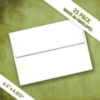 A6 Size White Envelopes   Pack of 25