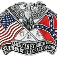 Southern By The Grace Of God Rebel & American Flag Belt Buckle