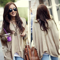 Women Korean Batwing Cloak Style Big Kntting Jumper Sweater Cardigan Outwear AP = 1946843140