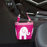 Car Cellphone Caddy ~ Pink Elephant ~ Pink Striped Band ~ Center Console Handle