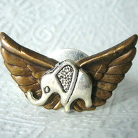 Silver elephant ring with wings