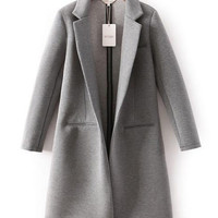 Notched Collar Long Sleeve Non Button Long Coat