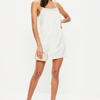 Missguided - White Satin Low Back Strappy Shift Dress