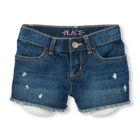 Girls Destructed Crochet-Pocket Denim Shorts | The Children's Place