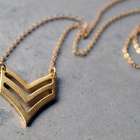 Double Gold Chevron Necklace - Gold Double Chevron - Chevron Jewelry - Birthday Gift - Minimalistic Necklace