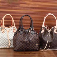 LV Women Shopping Leather Tote Crossbody Satchel Shoulder Bag Handbag Coffee Tartan I-LLBPFSH