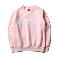 SUPREME Fashion Casual Long Sleeve Sport Top Sweater Pullover Sweatshirt Pink