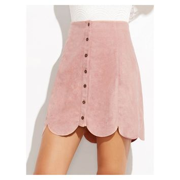 Pink Faux Suede Button Down Scallop Skirt