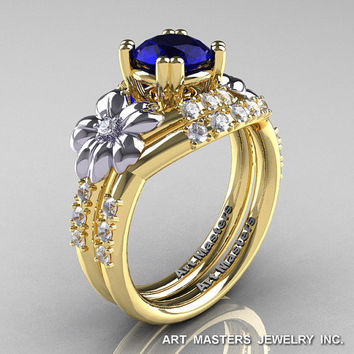 Nature Inspired 14K Yellow Two-Tone White Gold 1.0 Ct Blue Sapphire Diamond Leaf and Vine Engagement Ring Wedding Band Set R245S-14KYTTEGDBS