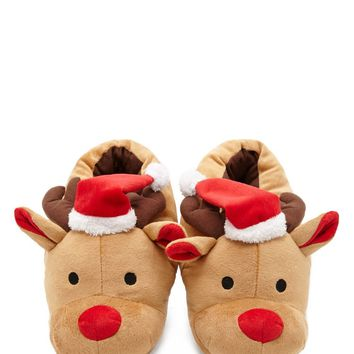 Holiday Reindeer Slippers