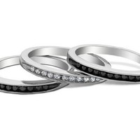 White and Black Diamond Stackable Three Ring Set 1/3 Carat (ctw) in Sterling Silver