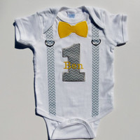 First Birthday Suspenders Outfit Personalized  Bow by mamabijou