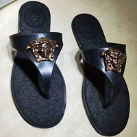 Versace Woman Men Fashion Leather Slipper Sandals Shoes