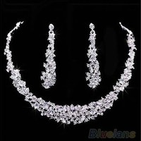 Fashion Wedding Bridal Prom Rhinestone Crystal Necklace Earrings Jewelry Set (Color: Silver) [7981427271]