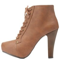 High Heel Lace-Up Platform Booties by Charlotte Russe