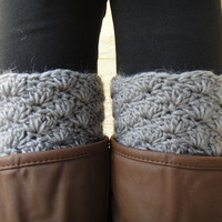 Boot Socks Handmade Crochet Womens Leg Warmers, Boot Toppers with Chunky Knit in Gray